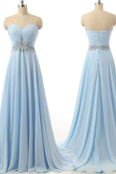 Chiffon Ruched Sweetheart Floor Length A-Line Formal Dress Featuring Crystal Embellishments, Prom Dress