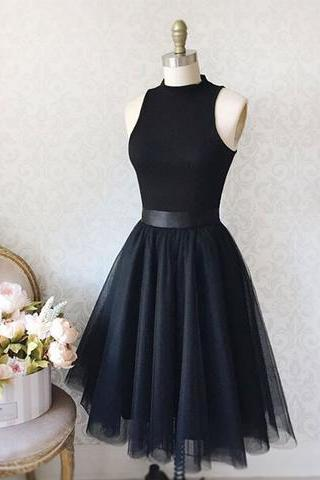 Black Mock Neck Sleeveless Short Tulle Homecoming Dress, Formal Dress