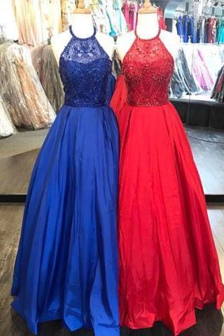 Halter Beaded Royal Blue/Red Prom Dress, A Line Long Evening Dresses