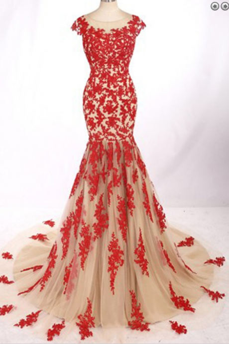 Appliques Red Evening Dress, New Arrival Lace Tulle Mermaid Evening Party Dress, Sweep Train Prom Dresses