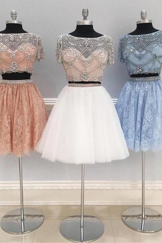 Short Prom Dresses, Beaded Tulle Homecoming Dress, Two Piece Prom Gown with Short Sleeve