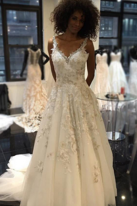 Appliques Lace Wedding Dress, Sexy Sleeveless V Neck Wedding Gown Bridal Dress
