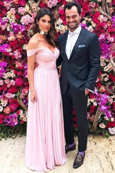 Fashionable Pink Chiffon Wedding Party Dress, Sexy Off Shoulder Long Prom Dress