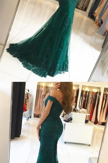 Elegant Beaded Lace Mermaid Evening Dresses Off The Shoulder Prom Dress