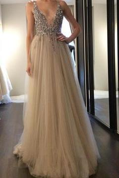Long Deep V Neck Beaded Sexy Prom Dresses 2018, Evening Formal Gown