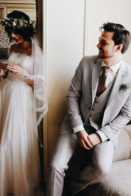 Noble Strapless Wedding Dresses with Lace, Long Sleeve Wedding Gown