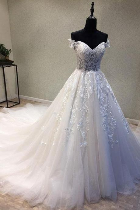 Tulle Lace Ball Gown Wedding Dresses, Elegant Wedding Gown,Bridal Dresses 2018