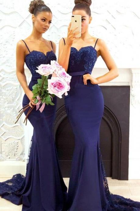 Navy Blue Mermaid Bridesmaid Dress, Sexy Spaghetti Straps Lace Bridesmaid Dresses