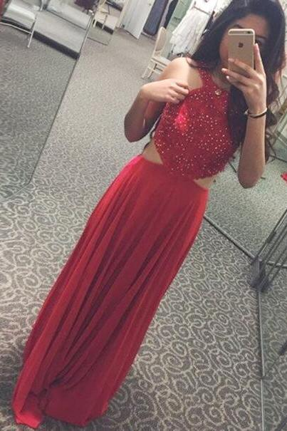 Long Chiffon Red Prom Dresses, Sexy Evening Party Dress