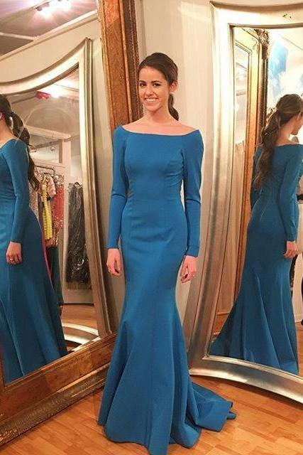 Blue Mermaid Evening Dress, Elegant Formal Evening Gown, Long Prom Dress