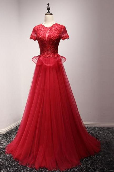 O Neck Red Tulle Long Prom Dress with Appliques, Short Sleeve Formal Evening Dress