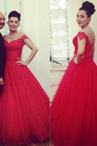Red Appliques Tulle Ball Gown Wedding Dress,Sexy Cap Sleeve Formal Wedding Gown