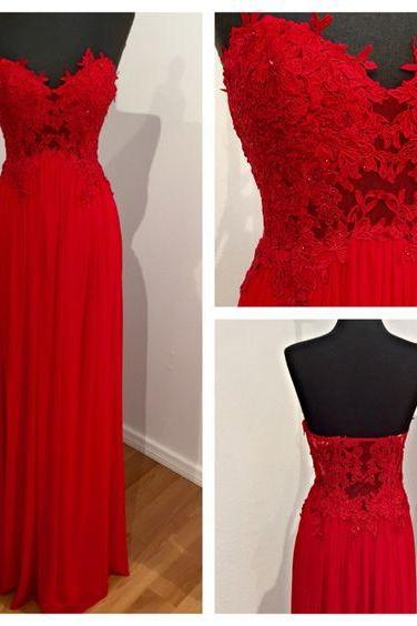 2018 Prom Dresses, Appliques Red Chiffon Prom Dresses, Long Evening Dress, Floor Length Homecoming Dress CF008