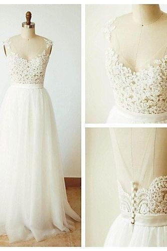 Appliques Wedding Dress, A Line Tulle White Wedding Dresses, Elegant Bridal Dress CF011