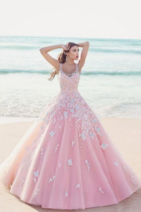 Pink Appliques Quinceanera Dresses, Tulle Quinceanera Dress, 2018 Ball Gown Prom Dresses CF055