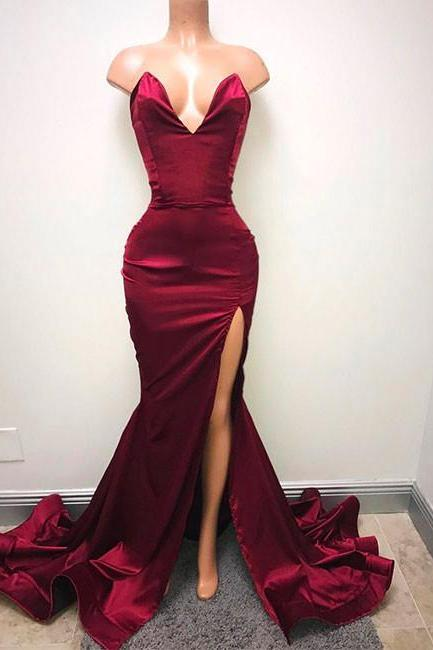 2018 Prom Dresses, Sexy Split Slit Prom Dresses, Long Evening Dress, Formal Dress CF080