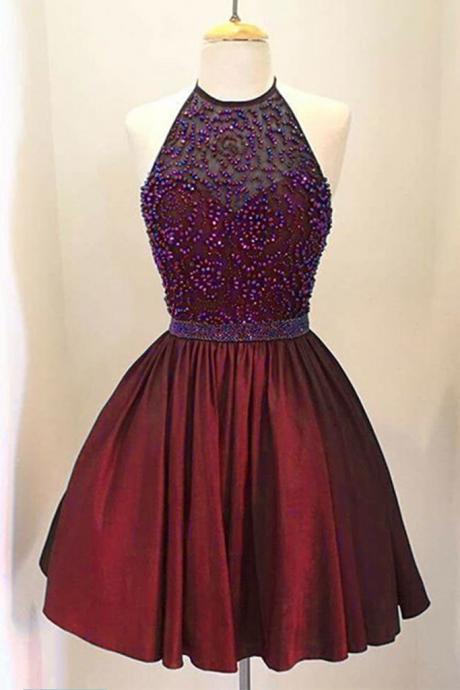 Beaded Prom Dresses, Elegant Prom Dresses, Short Homecoming Dress, Graduation Dress CF139