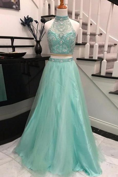Sexy Two Piece Prom Dress, Sleeveless Beaded Tulle Prom Dress, Long Prom Dresses, Homecoming Dress CF145