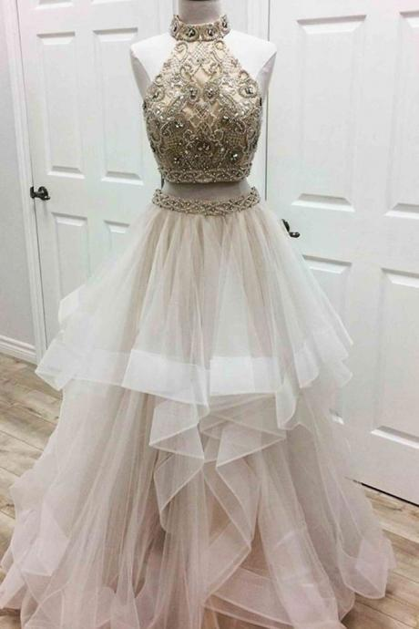Sexy Two Piece Prom Dress, Sleeveless Beaded Tulle Prom Dress, Long Prom Dresses, Homecoming Dress CF155