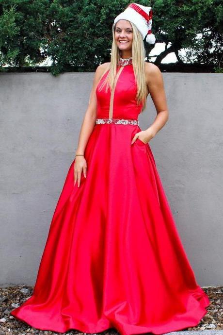 Sexy Red Prom Dress, Sleeveless Prom Dress, Long Prom Dresses, Homecoming Dress CF161