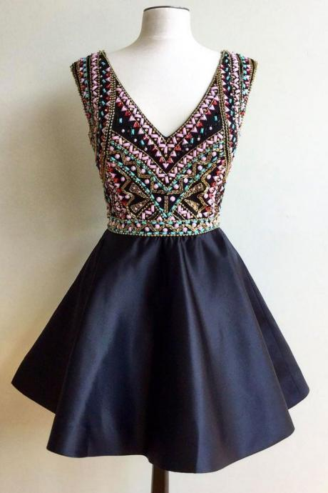 Sexy Prom Dress, Sleeveless Beaded Prom Dress, Short Homecoming Dress, Prom Gown CF163