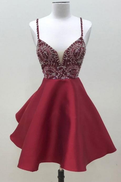 Sexy Straps Prom Dress, Beaded Burgundy Satin Prom Dress, Short Party Dress CF167