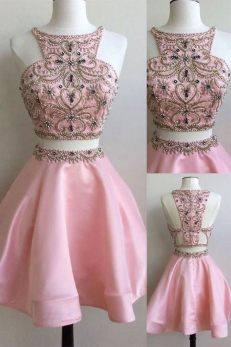 Sexy Two Piece Prom Dress, Beading Prom Dress, Short Graduation Dress, Homecoming Dress CF168