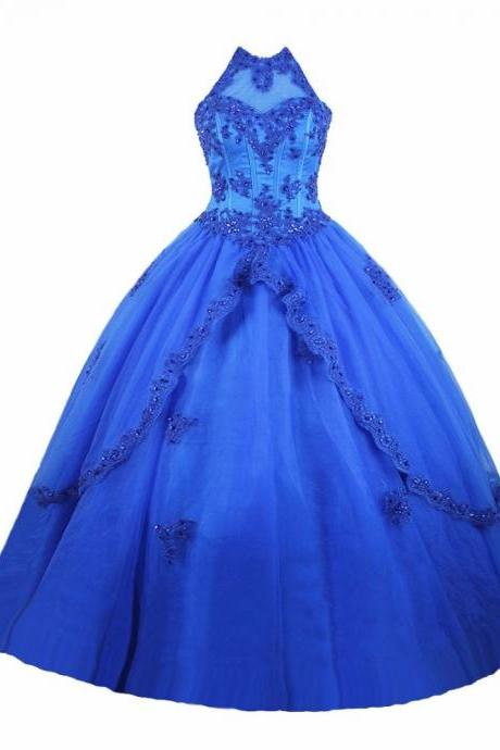 Charming Ball Gown Prom Dress, Tulle Beaded Quinceanera Dress, Sweet 16 Dresses CF204