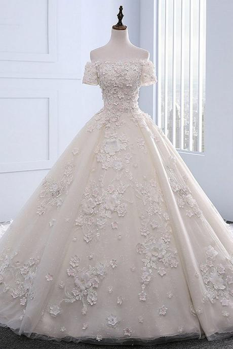 New Arrival Appliques Beaded Wedding Dresses, Sexy Bridal Dresses, Wedding Gown CF207