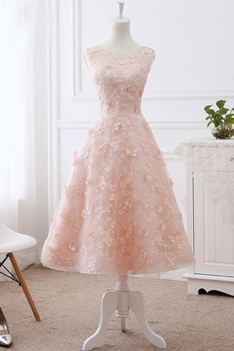 Lovely Pink Homecoming Dress, Elegant Appliques Graduation Dress, 2018 Prom Dress CF208