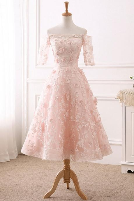 Elegant Pink Lace Prom Dress, Half Sleeve Prom Gown, Elegant A Line Prom Dresses, Homecoming Dress CF233