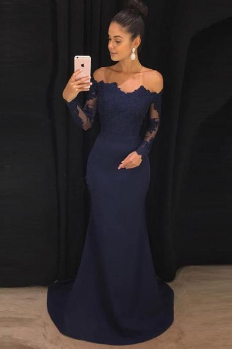 Appliques Mermaid Evening Dress, Sexy Long Sleeve Prom Dress, Formal Prom Dresses CF271