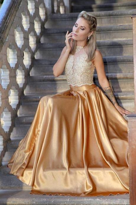 Charming Prom Dress, Appliques Prom Dresses, Sexy Prom Gowns, Long Evening Dress CF359