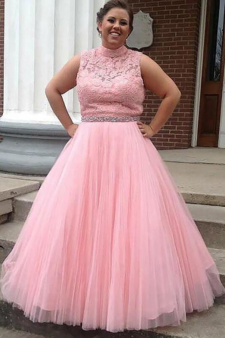Plus Size Tulle Pink Prom Dress, Elegant Appliques Prom Dresses, Formal Long Evening Dress CF397