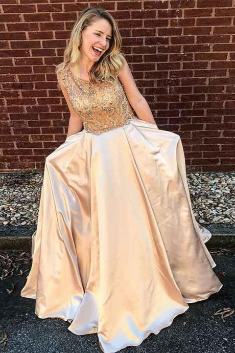 Charming Prom Dress, Elegant Beaded Prom Dresses, A Line Party Dress, 2018 Prom Gowns CF479