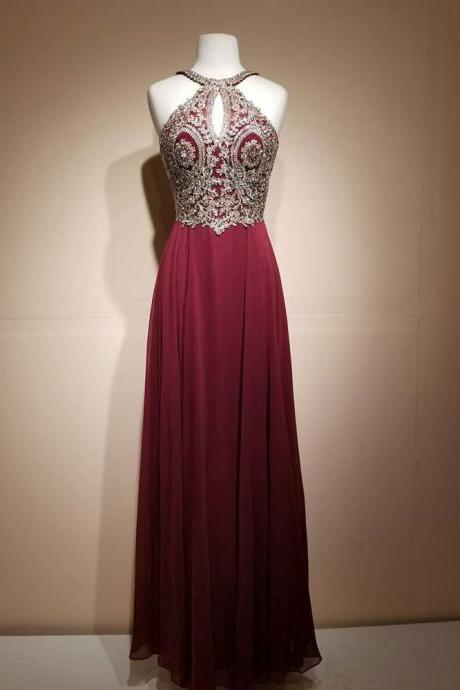 Charming Prom Dress, Sexy Sleeveless Prom Dresses, Appliques Evening Party Dress, 2018 Prom Gowns CF484