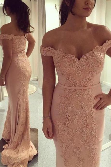 Charming Prom Dress, Sexy Off Shoulder Appliques Mermaid Evening Dress, Long Prom Dresses, Formal Dress CF531