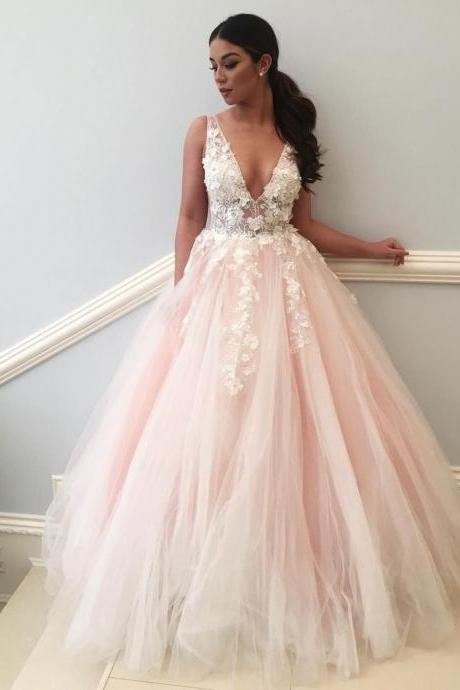 Charming Wedding Dress, Sexy V Neck Appliques Tulle Wedding Dresses, Tulle Bridal Dress CF545