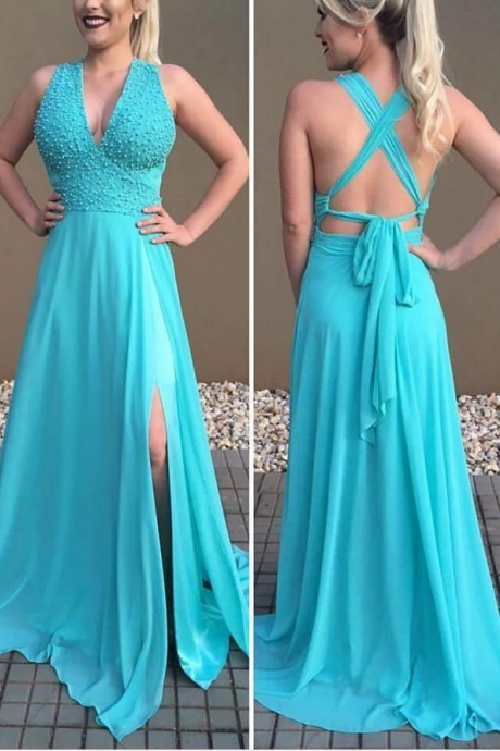 Charming Prom Dress, Sexy Blue Prom Dresses, Long Evening Dress, Formal Gown CF549