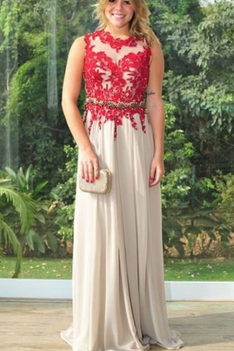 Charming Prom Dress, Sexy Appliques Chiffon Prom Dresses, Long Evening Dress, Formal Gown CF565