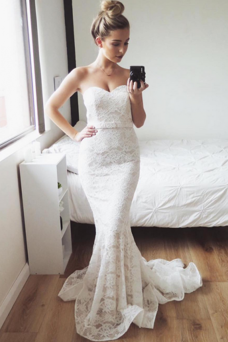 New Arrival Strapless Lace Mermaid Wedding Dresses, Sexy Bridal Dresses CF570