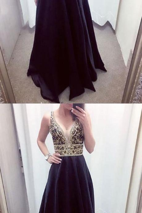 Charming Prom Dress, Sexy V Neck A Line Prom Dresses, Long Evening Dress, Homecoming Dress CF616