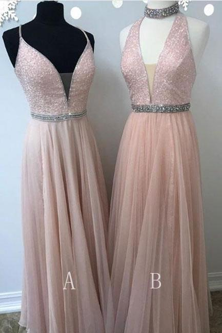 Charming Prom Dress, Sexy Sleeveless Tulle Prom Dresses, Long Evening Dress, Party Gown CF625