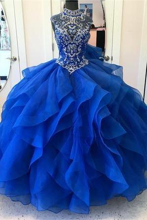 Charming Prom Dress, Royal Blue Crystal Beading Tulle Ball Gown Prom Dresses, Pretty Quinceanera Dresses CF640