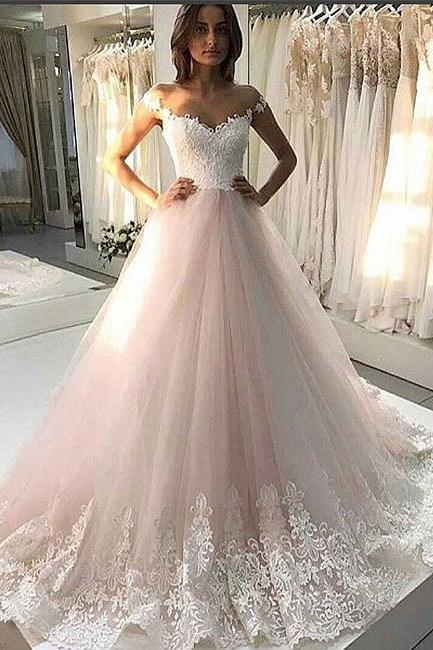 Charming Wedding Dress, Tulle Appliques Wedding Dresses, 2018 Wedding Gowns, Bridal Dress CF649