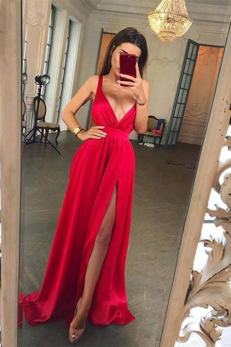 Charming Prom Dress, Sexy A Line Red Prom Dresses with Slit, Long Evening Dress, Party Dress CF650