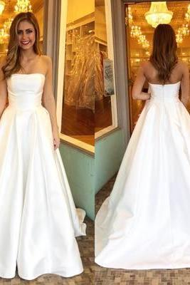 Charming Prom Dress, Elegant Strapless Prom Dresses, Long Evening Dress, Formal Gown CF725