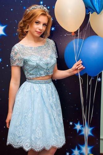 Charming Prom Dress, Light Blue Beaded Homecoming Dress, Short Lace Prom Dresses CF729