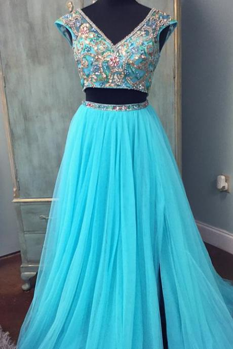 Charming Prom Dress, Cap Sleeve Blue Two Piece Prom Dresses, Long Evening Dress, Formal Gown CF752