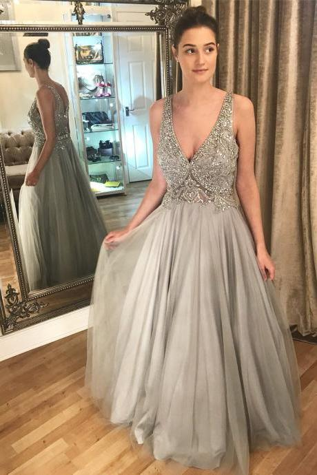 Charming Prom Dress, Sexy V Neck Tulle Crystal Beaded Prom Dresses, Long Evening Dress, Formal Gown CF754